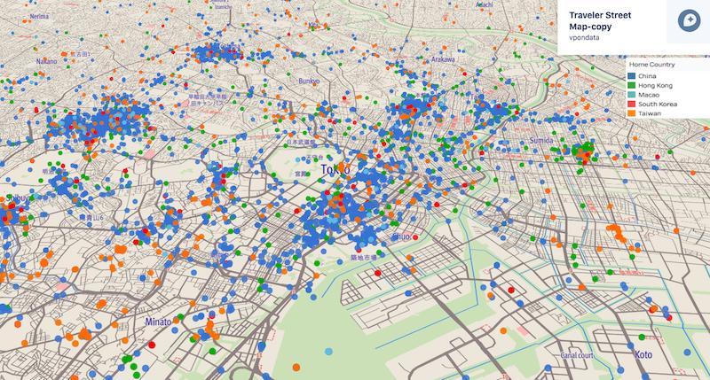 東京近辺の海外訪問者の分布